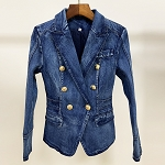 Denim Blazer with Gold Buttons