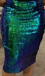 Green Sequin Midi Skirt