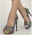 Multicolor Peep Toe Stiletto
