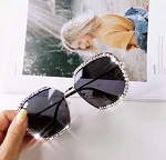 Diamond Rhinestone Oversized Frames(Black)
