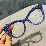 Blue Bling  Luxury Cat-Eye Frames