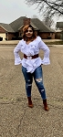 White Plus Size Ruffle Blouse