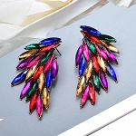 Colorful Rhinestone Wing-Shaped Earrings